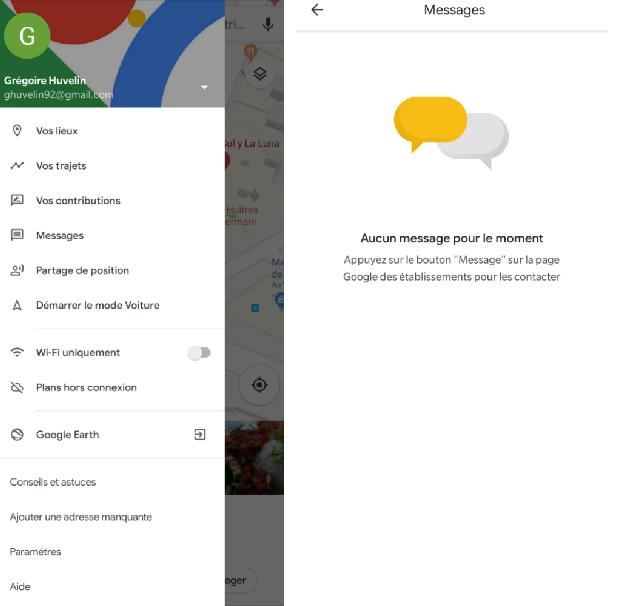google maps messagerie instantanée