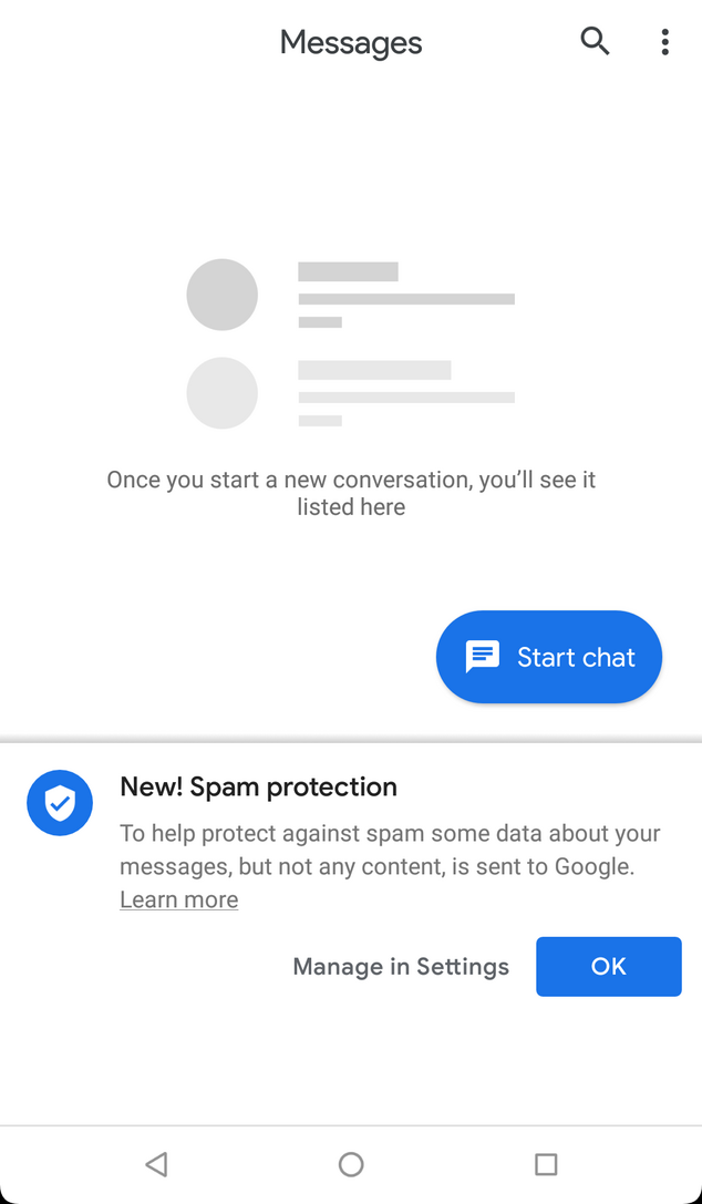 google messages spam