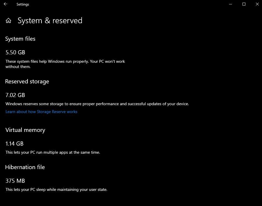 Windows 10 stockage
