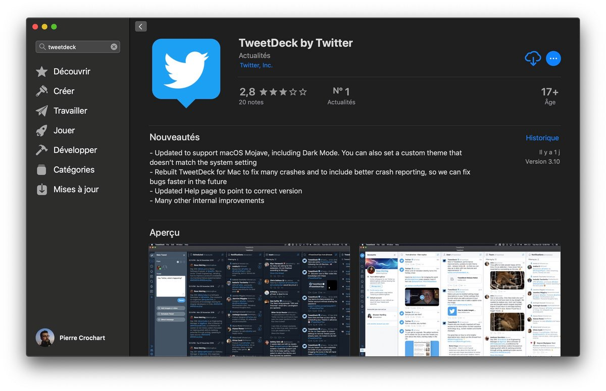 Tweetdeck macOS Mojave