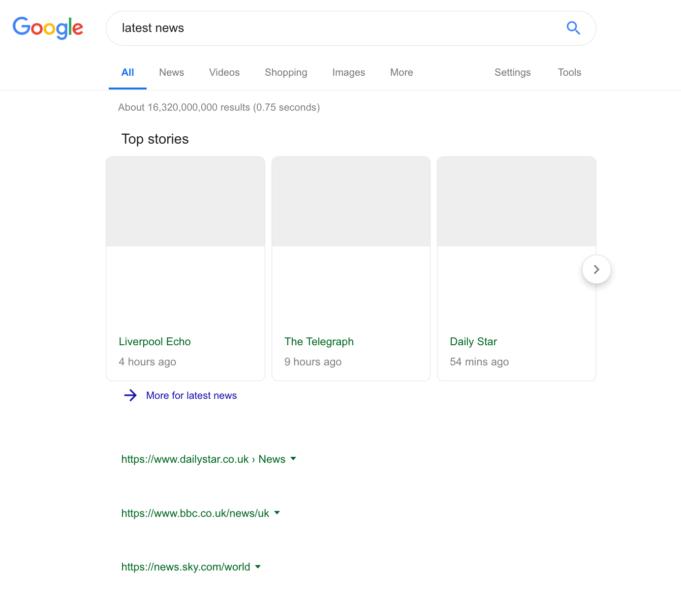 Maquette de la page de résultats de Google avec les directives de l'UE