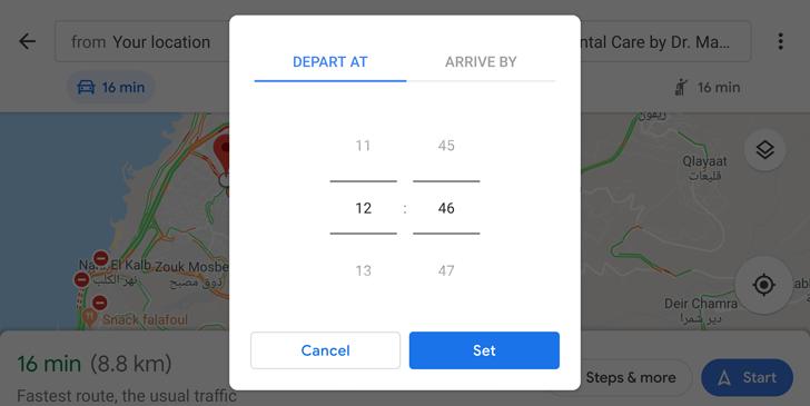 Google Maps heure arrivée départ