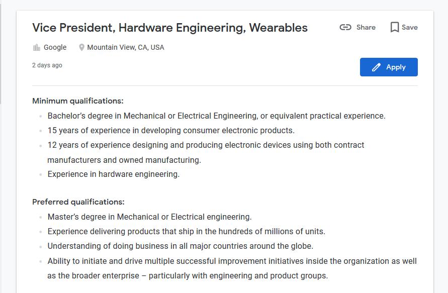 Google offre d'emploi