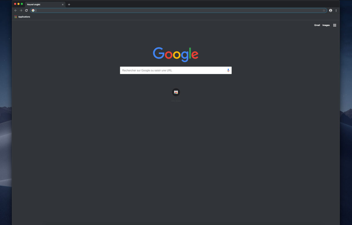 Capture d'écran Chrome dark mode