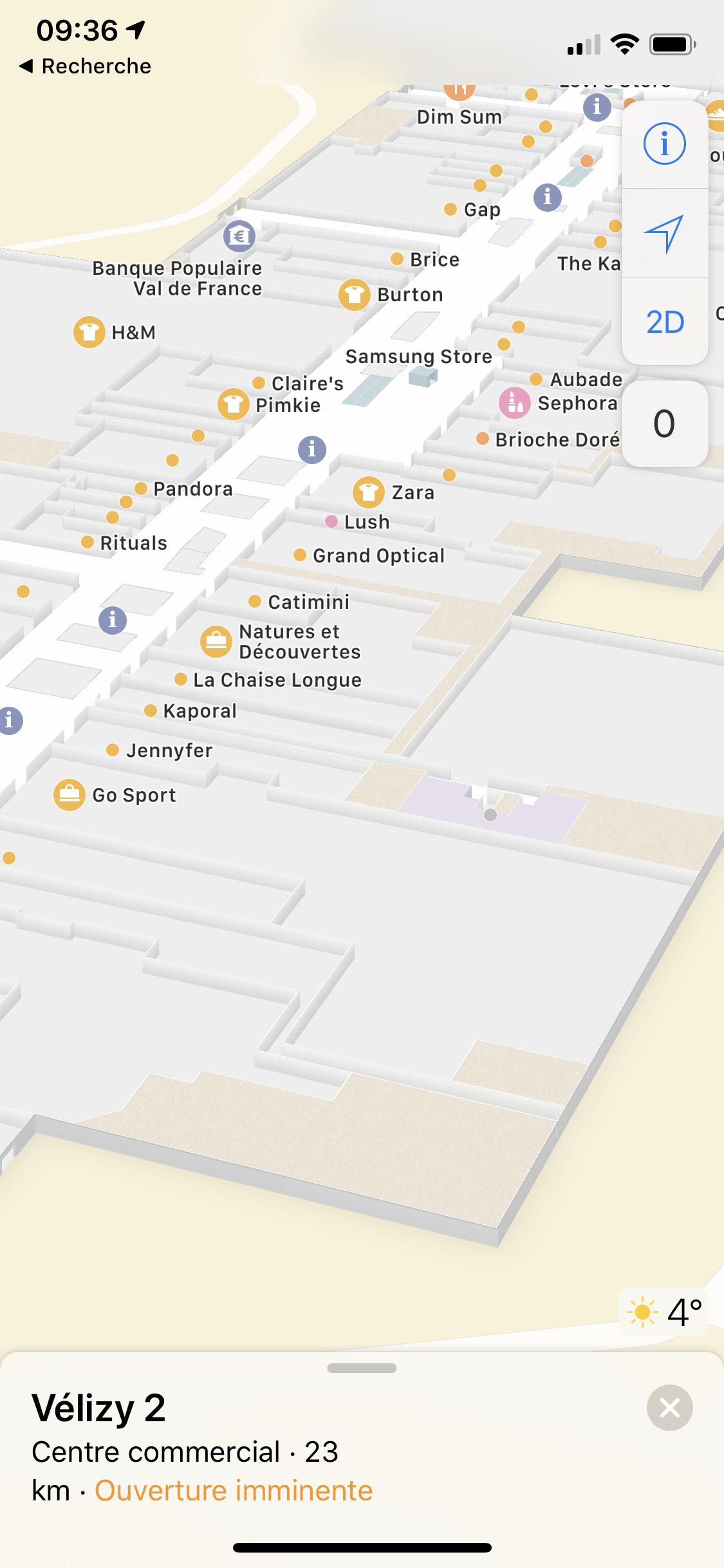 Apple Plans carte intérieure