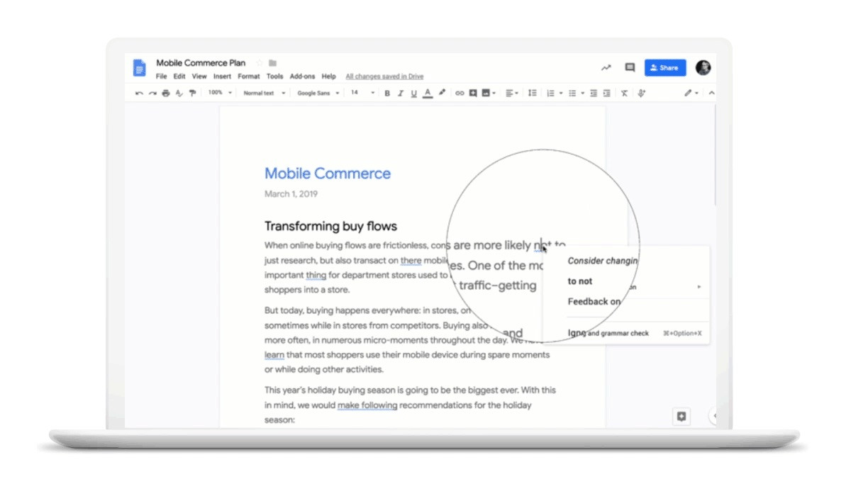 Google Docs grammaire