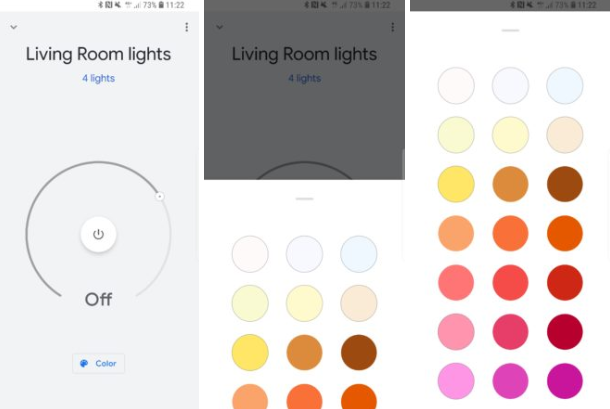 Couleurs Google Home application