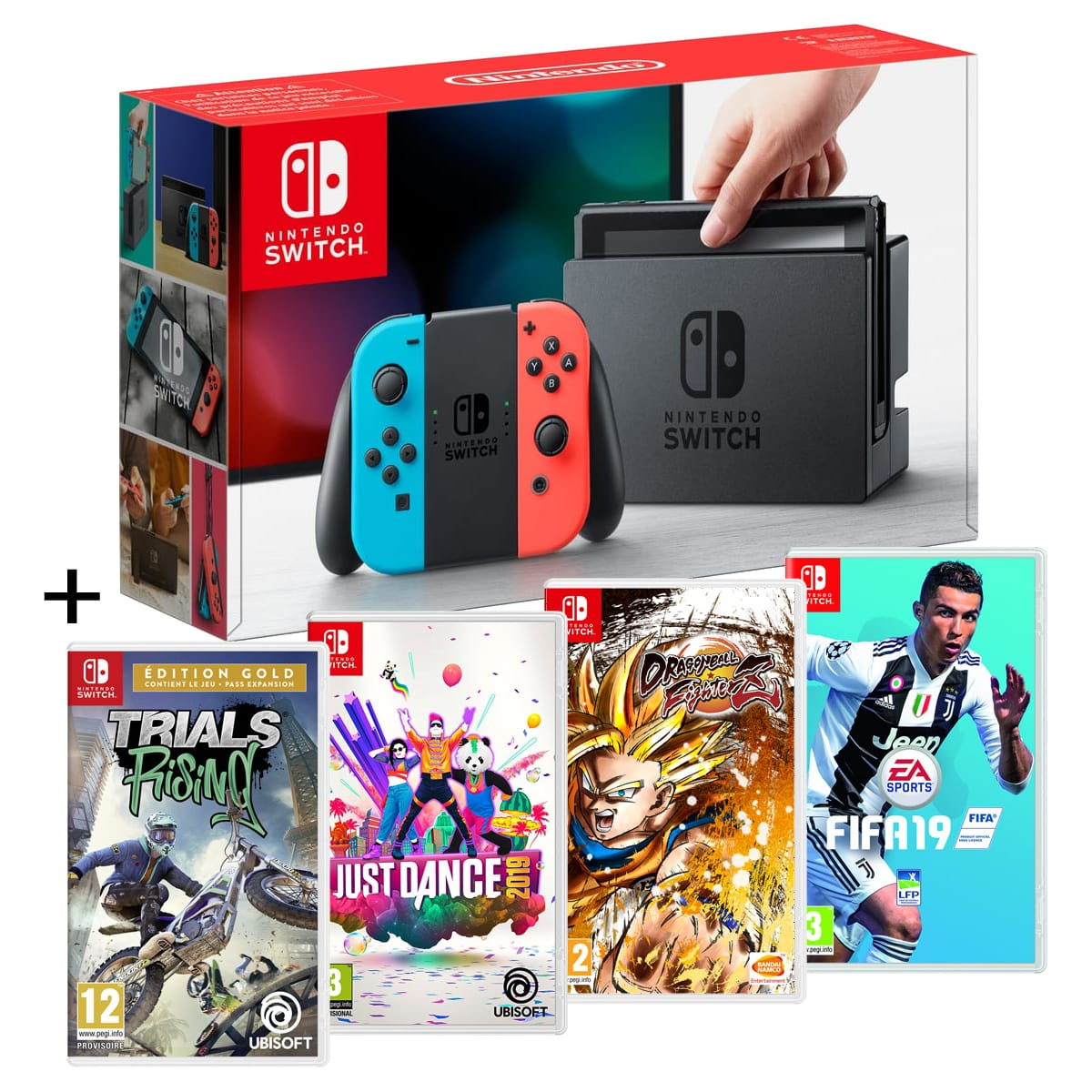 Pack Nintendo Switch + 4 jeux