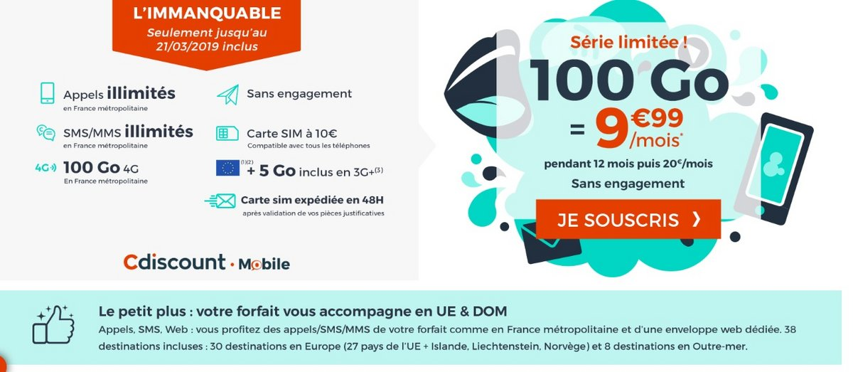 Forfait Cdiscount Mobile 100 Go