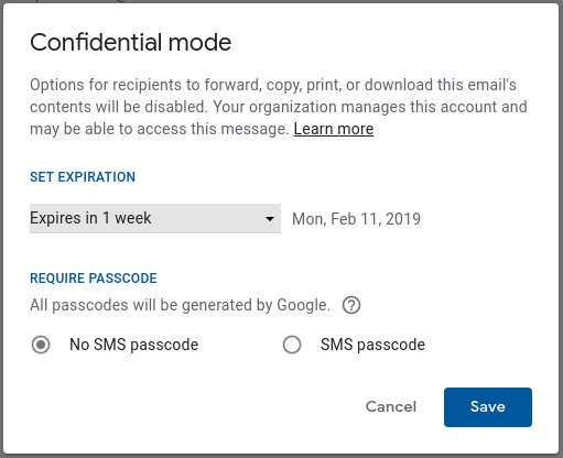 gmail confidentialité