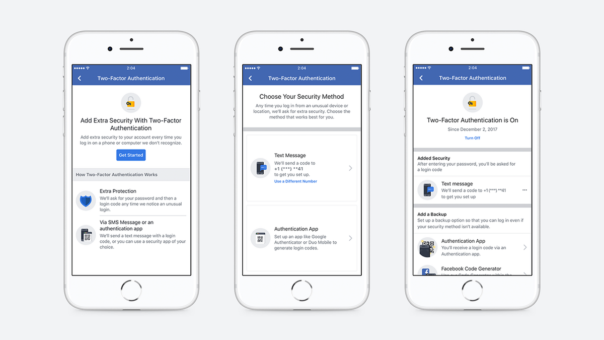 Facebook authentification double facteur