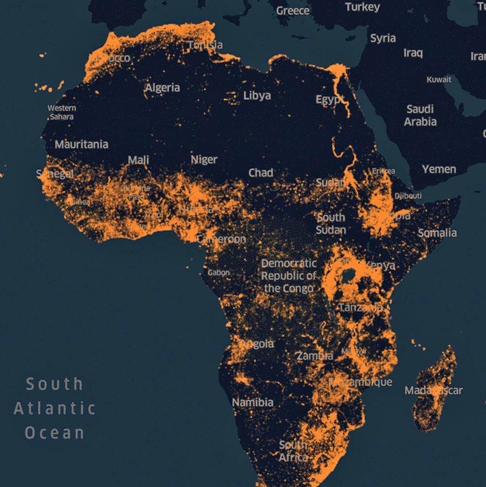 Carte Afrique Actuelle.Facebook Cree Une Carte De Densite De Population De L