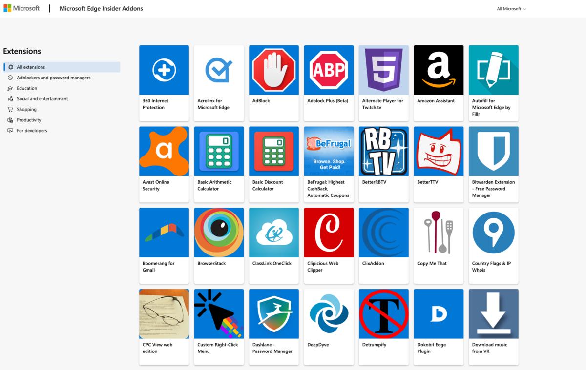 Extensions Microsoft Edge