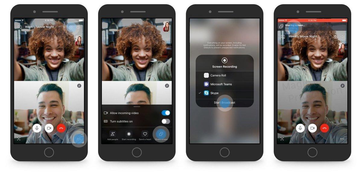 Skype partage écran mobile
