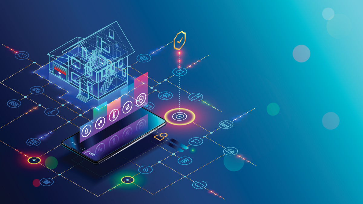 Smart home with internet of things isometric concept. IOT technology in house automation design. Smartphone for wireless control of household appliances via internet. Protection house infrastructure.png © Adobe Stock