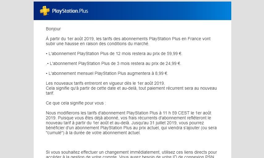 PlayStation Plus prix