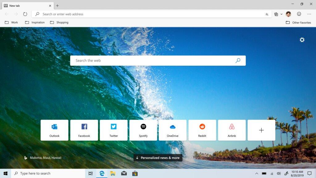 Microsoft Edge chromium beta - screenshot