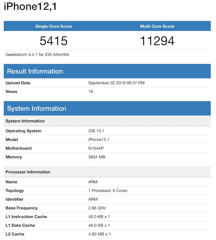 iPhone 11 XR benchmark