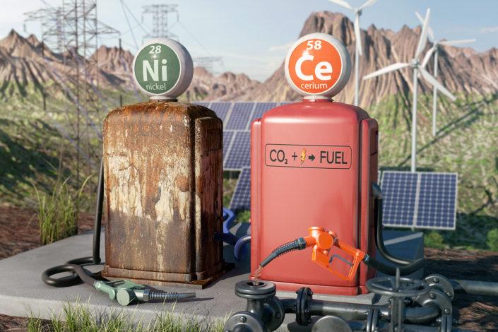 CO2 carburant oxyde de cérium