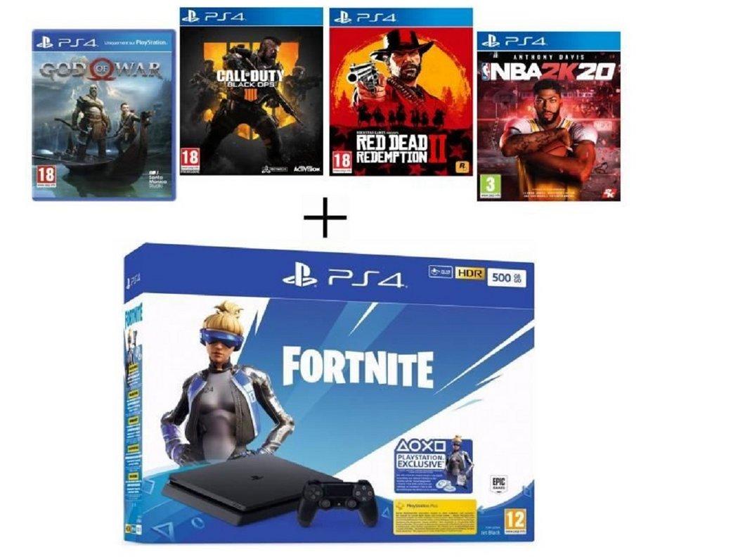 🔥 PS4 500 Go Noire + God of War + Call Of Duty Black Ops 4 + Red Dead Redemption 2 + NBA 2K20 + code Fortnite à 299,99€ au lieu de 459,99€