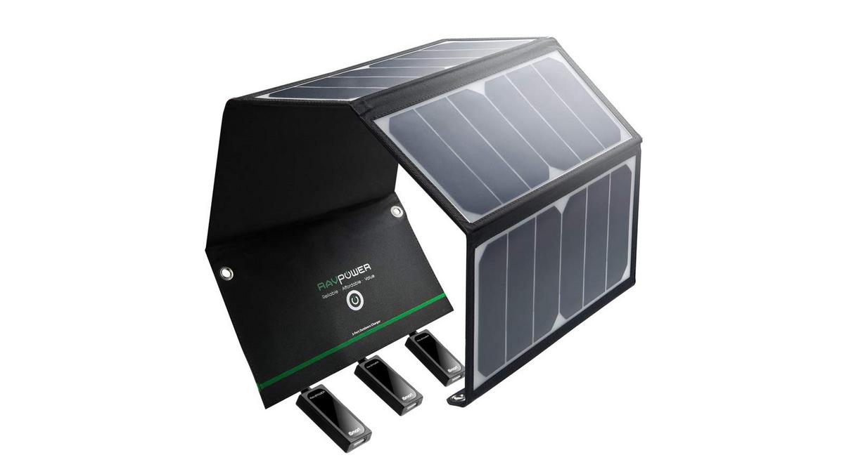 chargeur panneau solaire à 3 ports USB RAVPower 24W