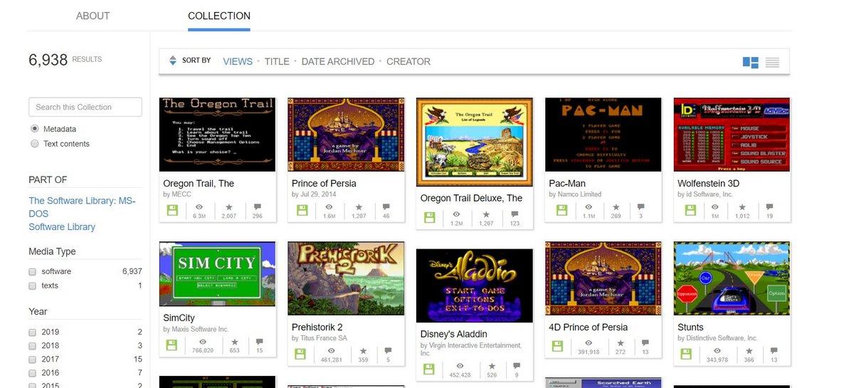 Internet Archive jeux vidéo retro