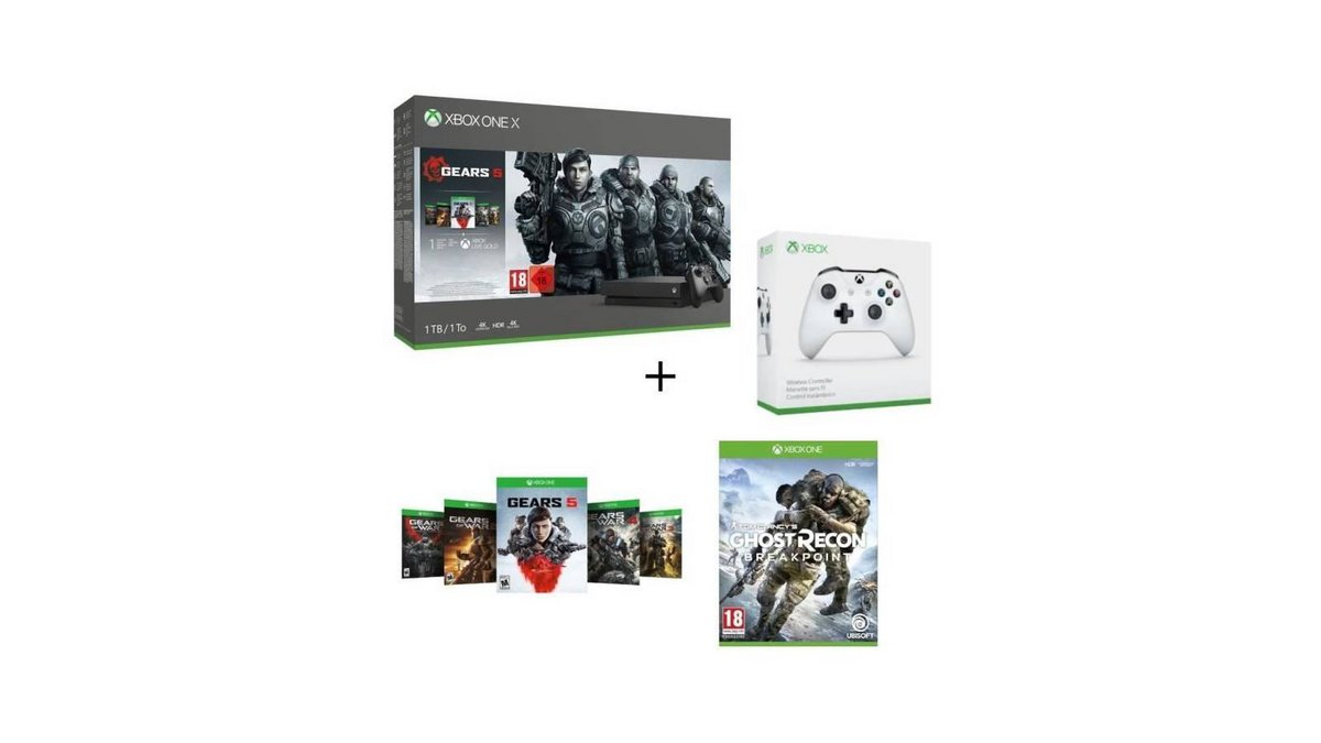 Xbox One X 1 To 5 jeux Gears of War Ghost Recon Breakpoint 2e manette.jpg