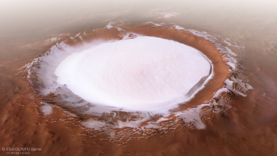 Perspective view of Korolev crater
