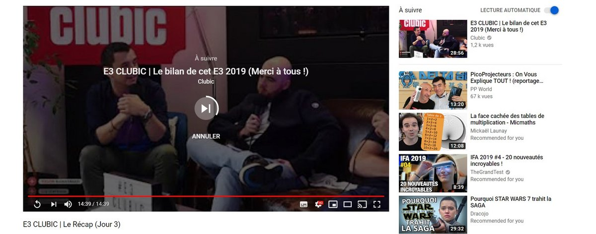 Recommandation YouTube lecture automatique