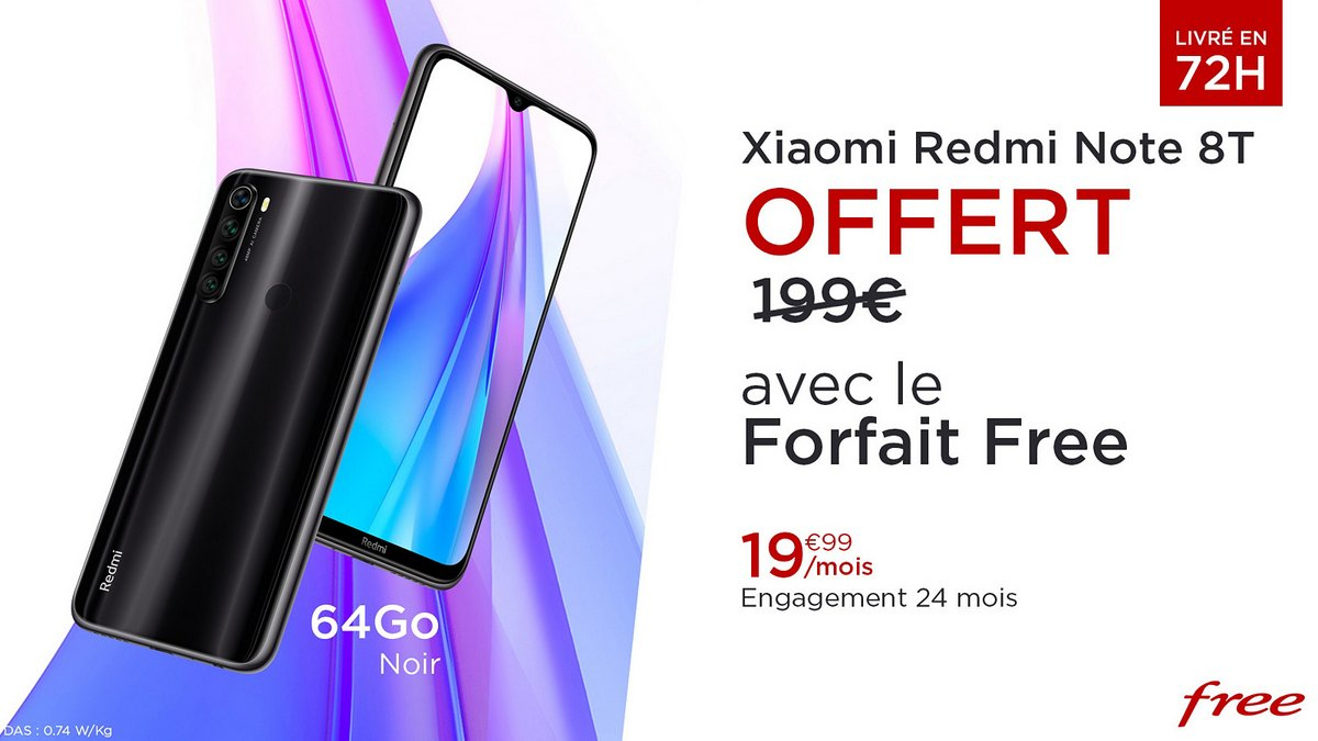 Vente privée Free : forfait 100Go à 19,99€ avec un Xiaomi Redmi Note 8T offert