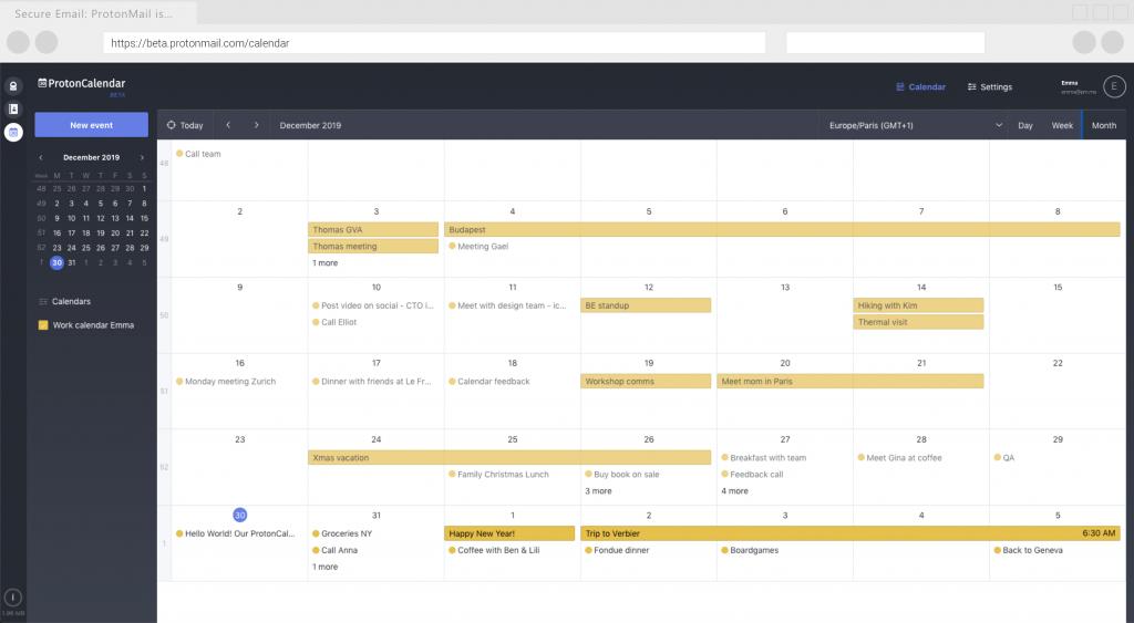 ProtonMail Calendar