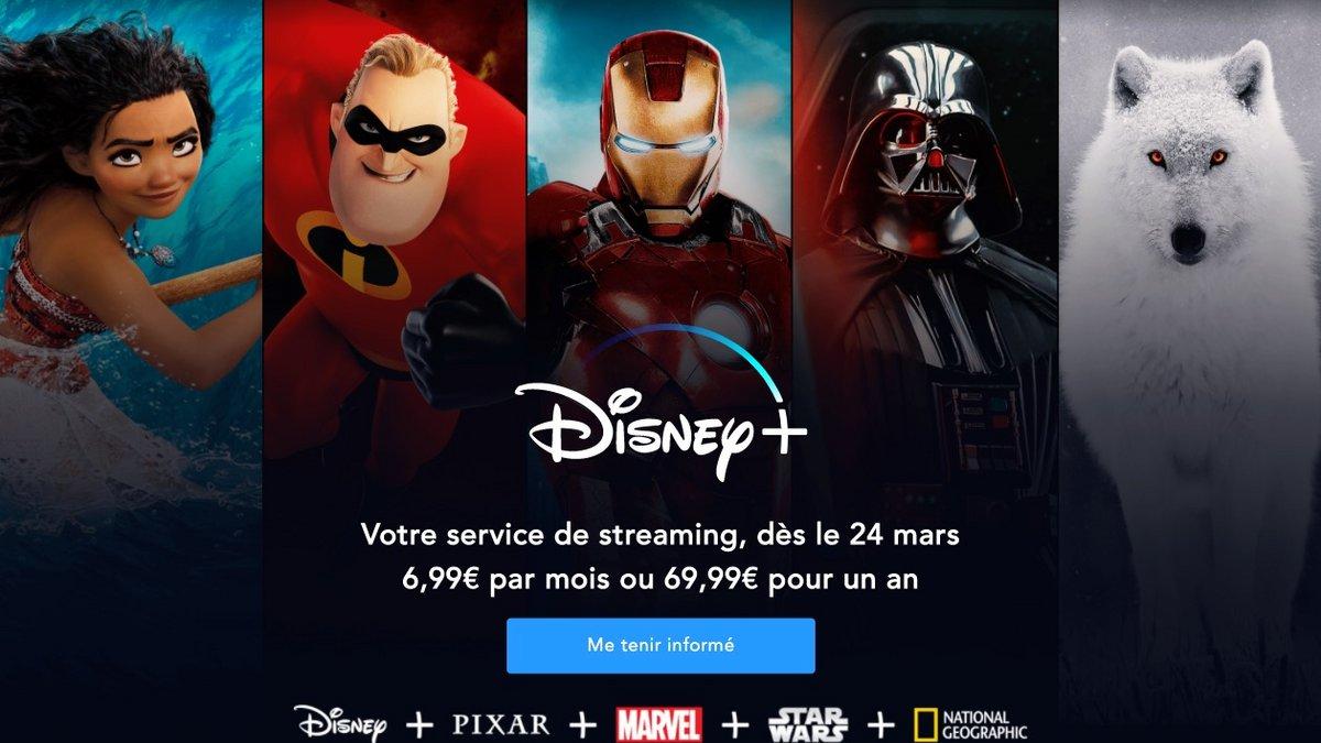 Disney+ arrivera le 24 mars en France, pour 6,99€ par mois