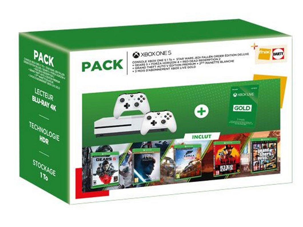 Pack Soldes Fnac Xbox One S + 5 jeux Xbox à moins de 250€
