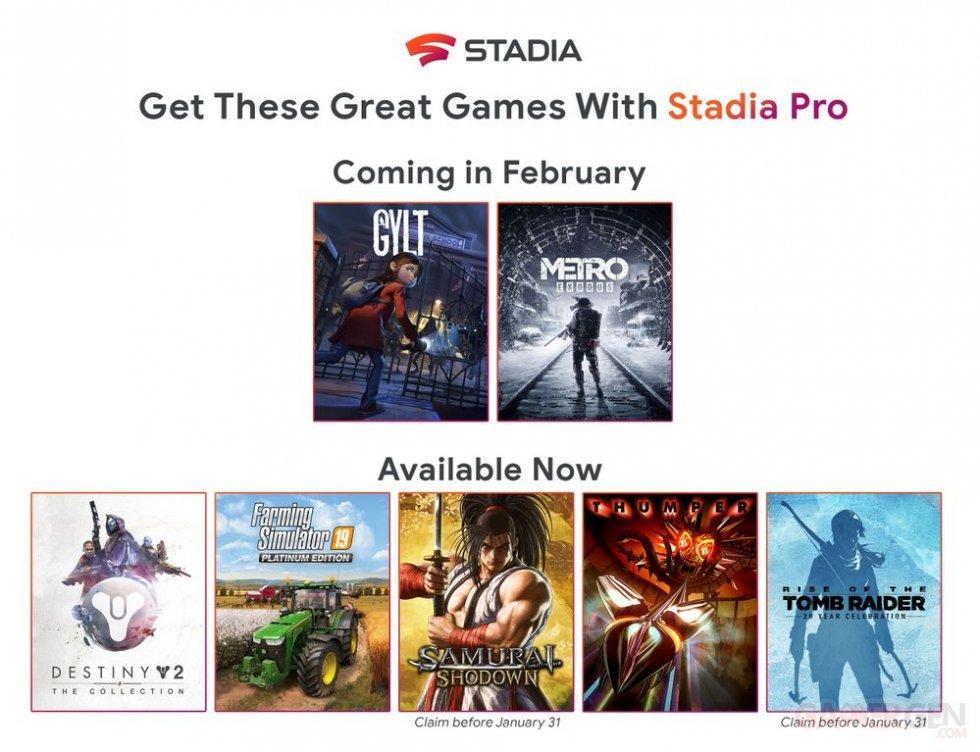 Stadia Pro jeux février 2020