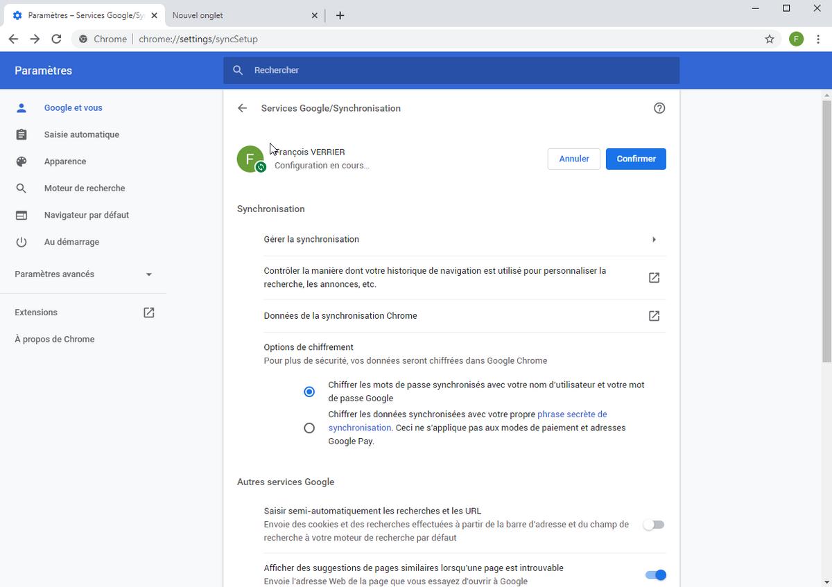 Chrome synchronisation