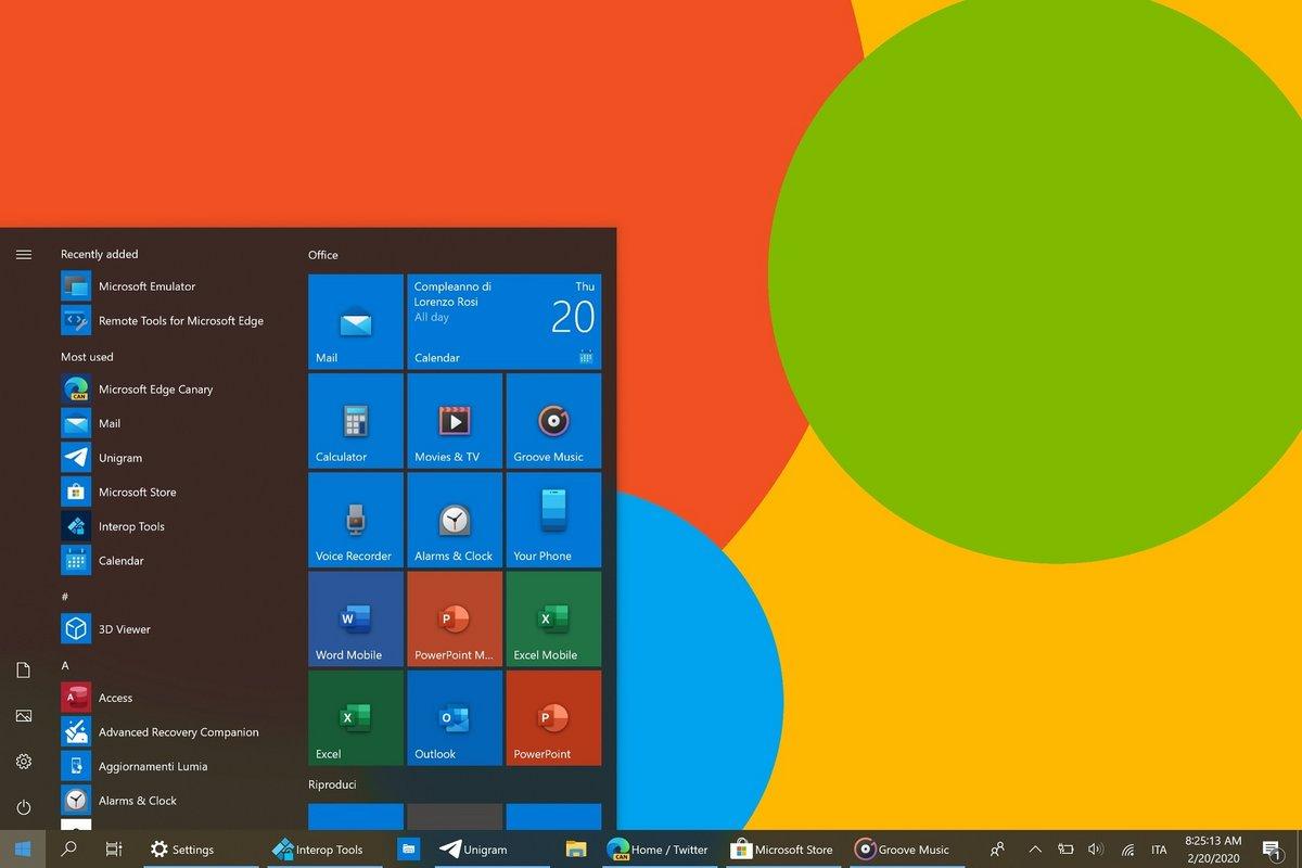 Windows 10 icônes colorées