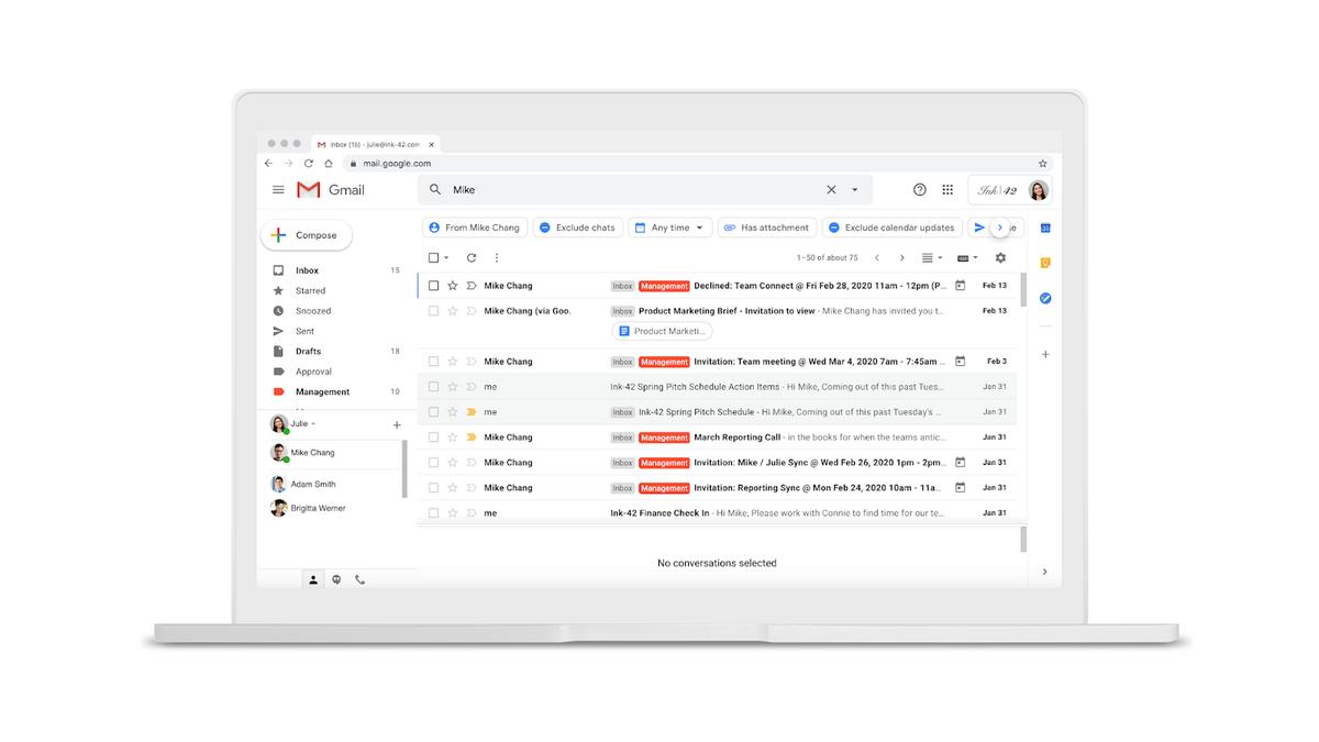 Nouveaux filtres recherche avancée Gmail