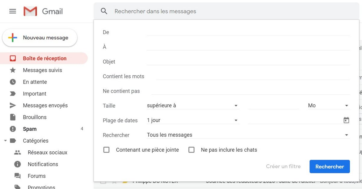 Recherche avancée Gmail