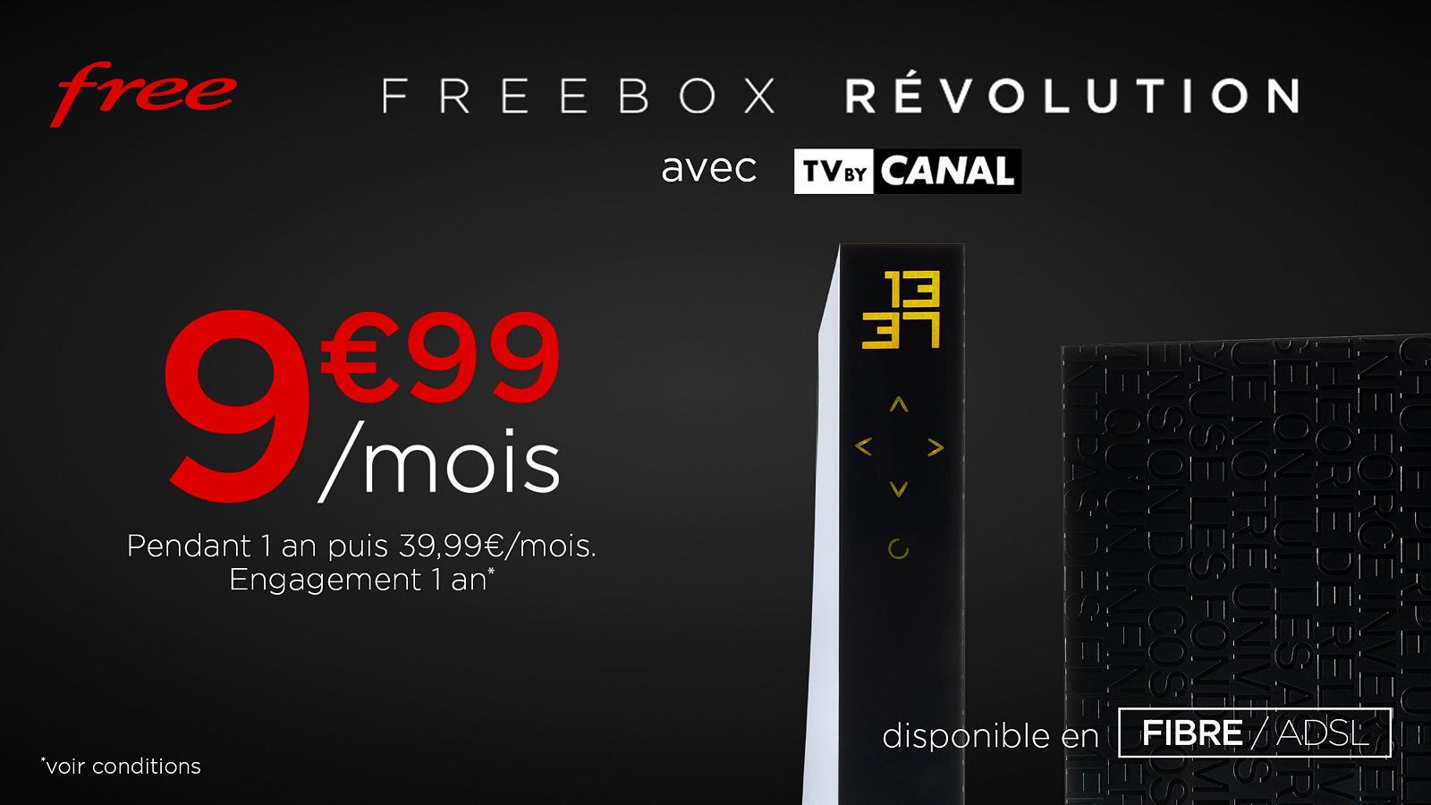 Vente Privée : le forfait Freebox Révolution avec TV by CANAL à 9,99€/mois pendant 1 an