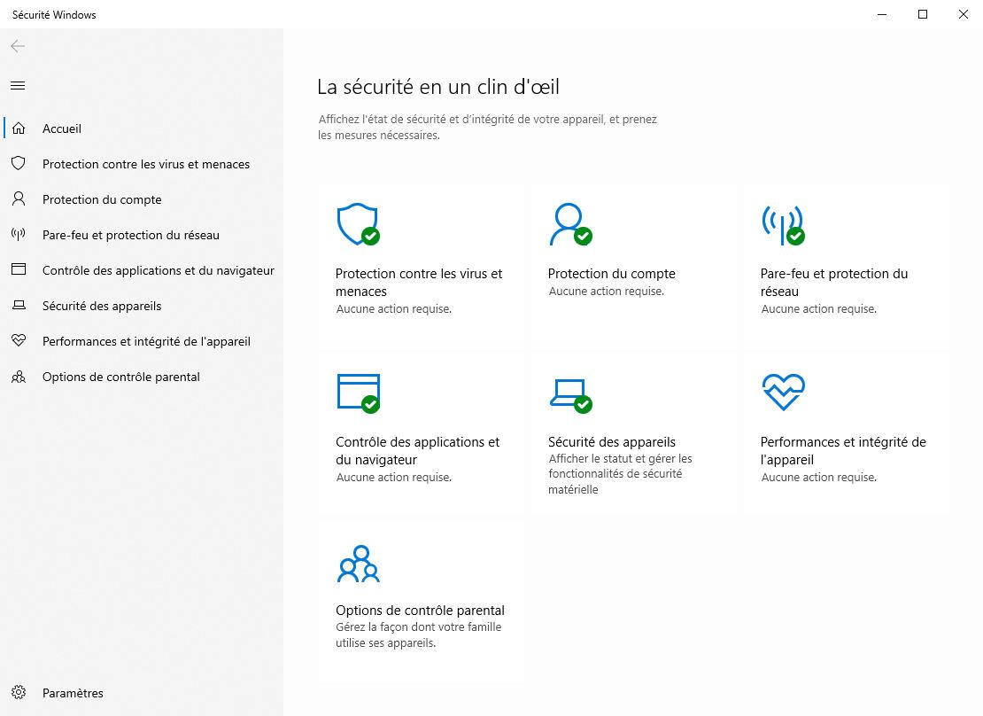 Centre de sécurité Windows 10 © clubic.com