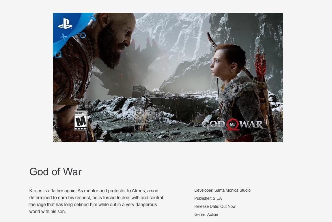 God of War PlayStation Store exclusivité
