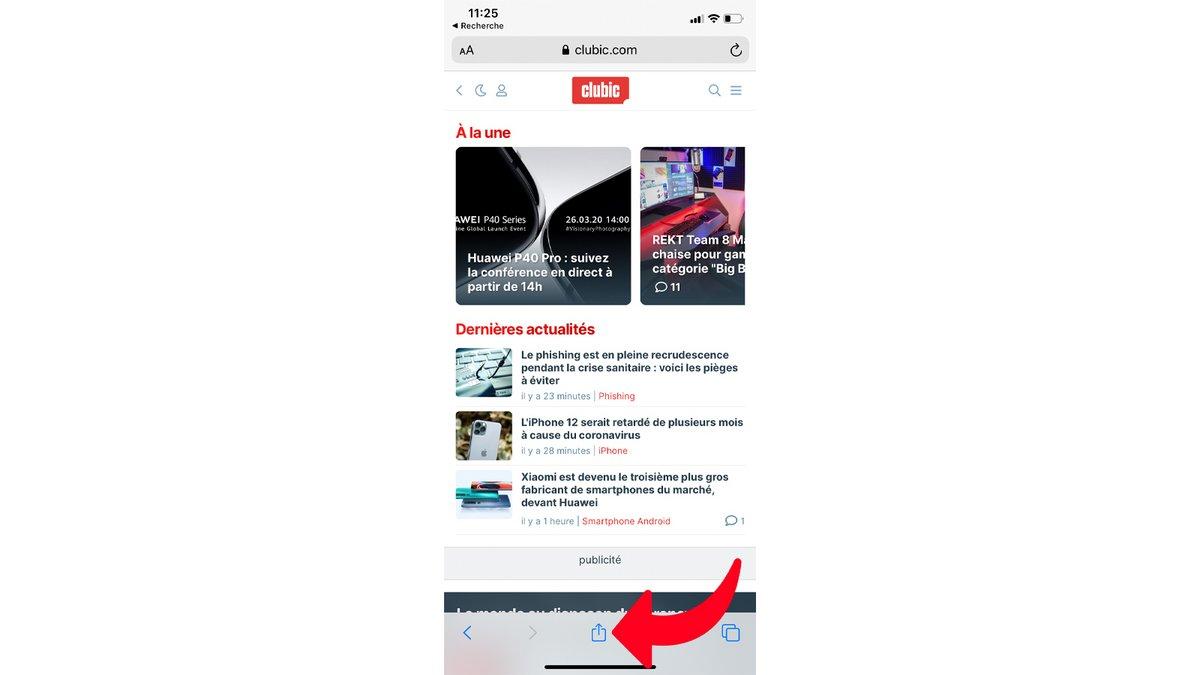 tuto créer raccourci Safari iPhone