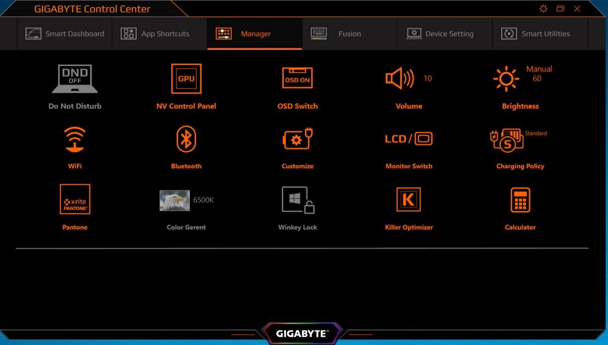 Gigabyte Aero 17 HDR, réglages