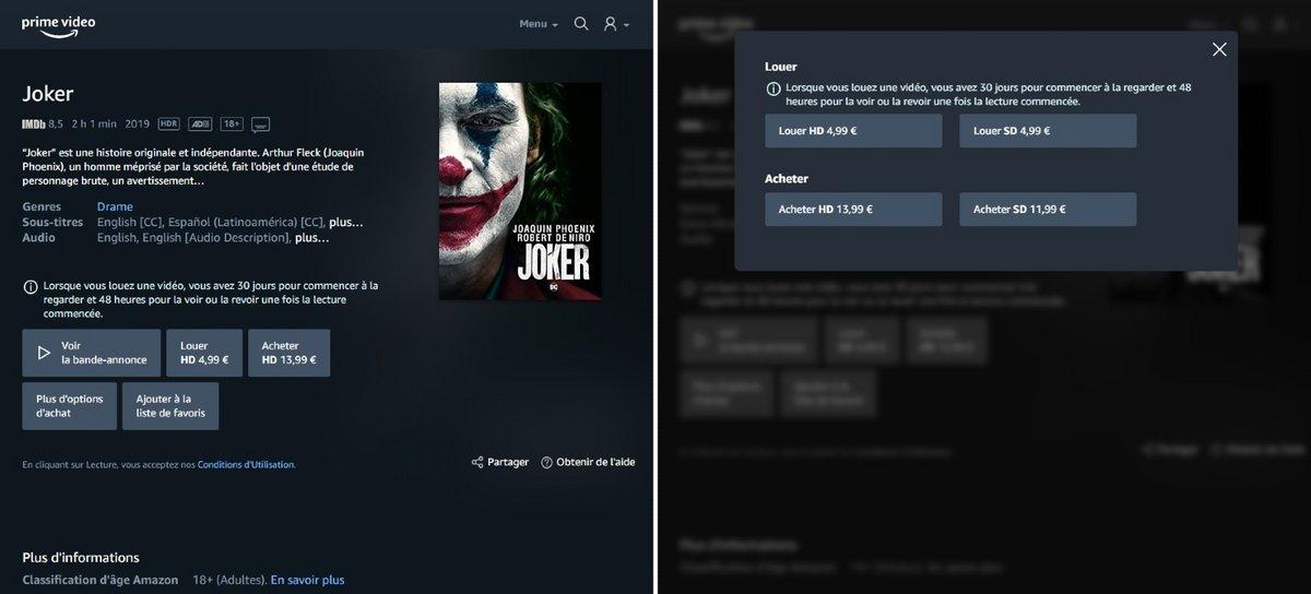 """Page du film """"Joker"""" sur le Store Prime Video © Clubic / Alexandre Boero"""