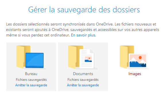 Sauvegarde Windows 10 OneDrive