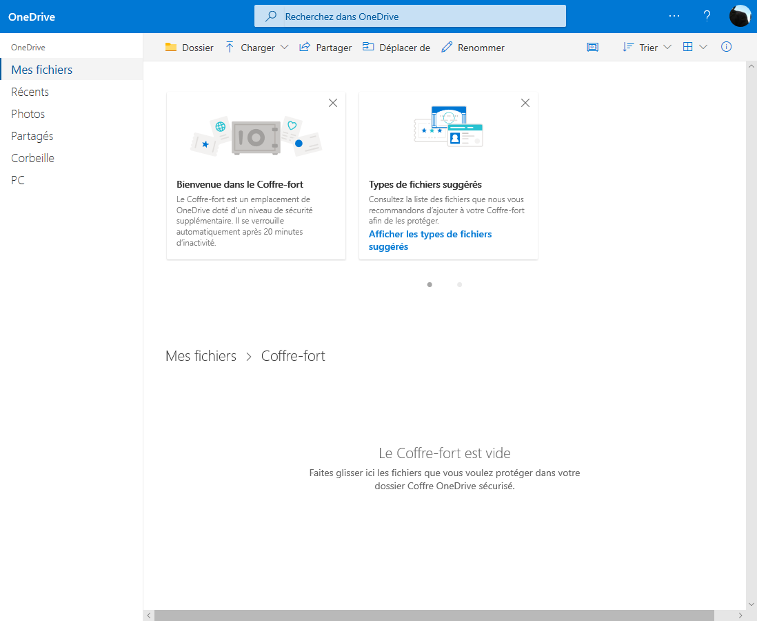 Sécurité de Windows 10 OneDrive
