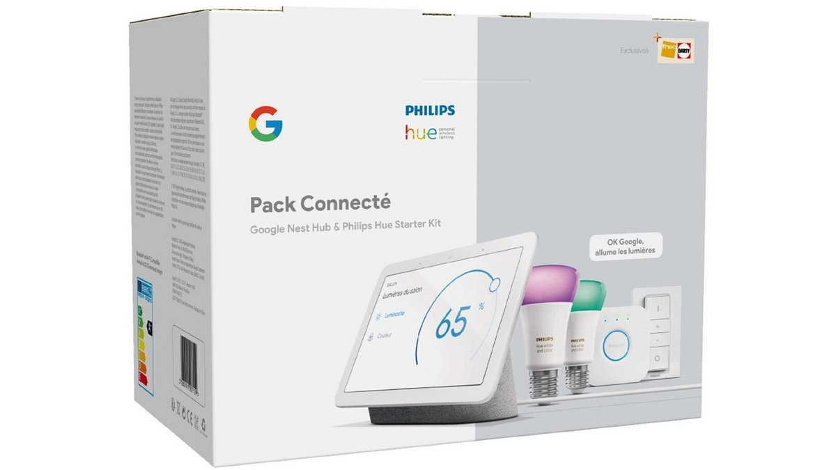 Pack Google Nest Hub + kit de démarrage Philips Hue