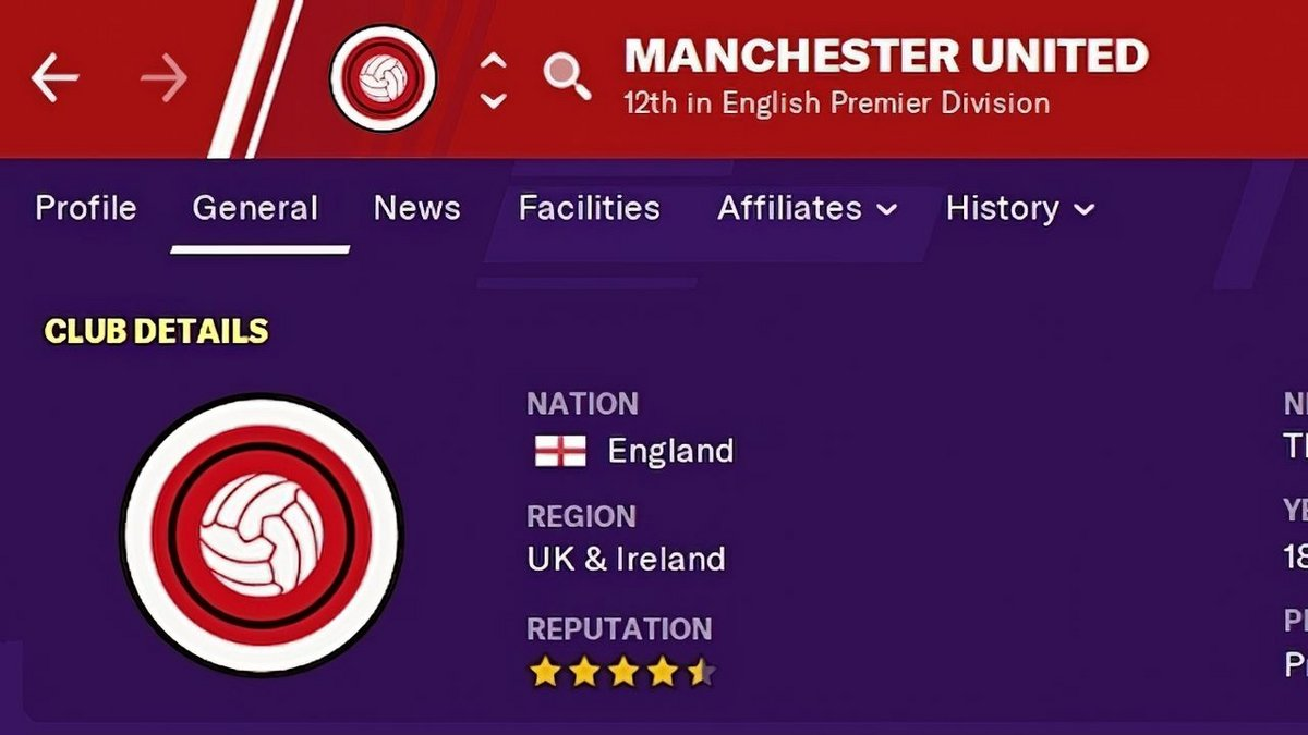 Manchester United dans Football Manager © Sports Interactive