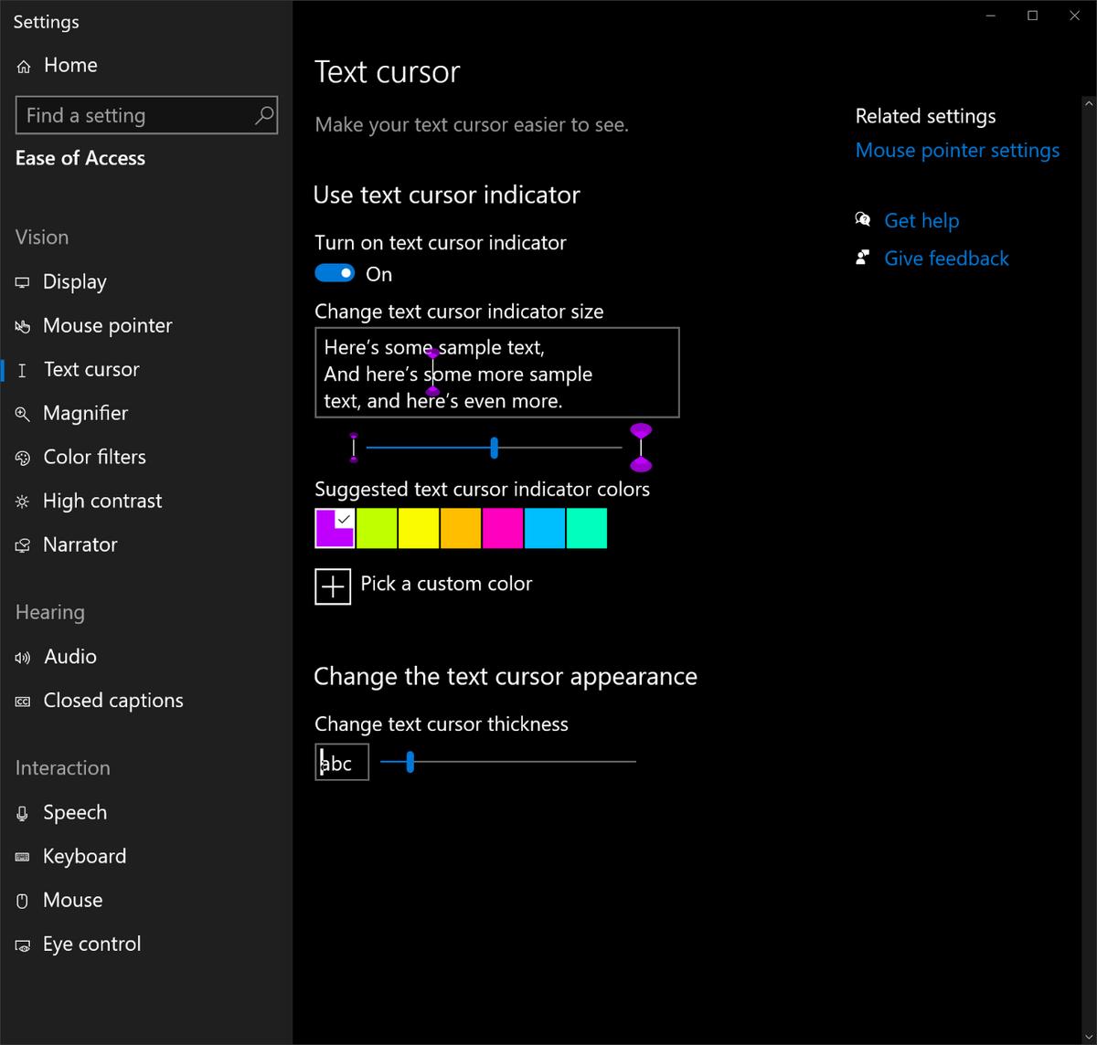 Ajuster curseur texte Windows 10 © Microsoft