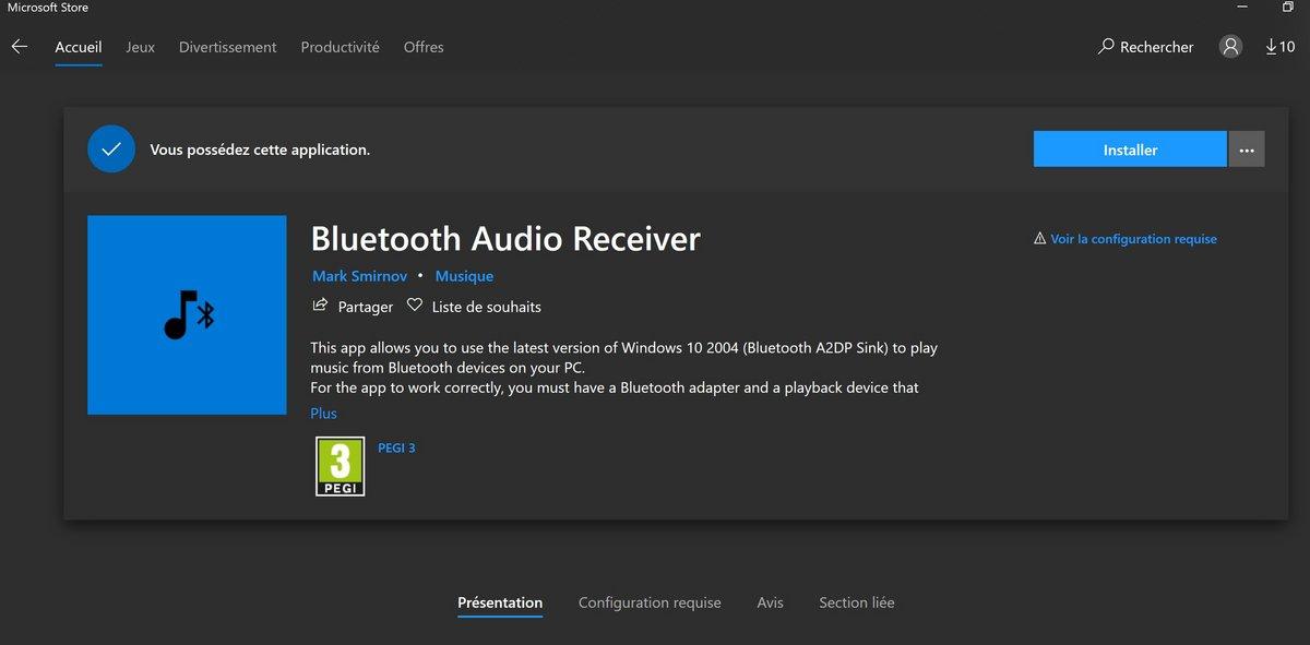Windows 10 Bluetooth A2DP sink